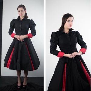 Black and red retro dress